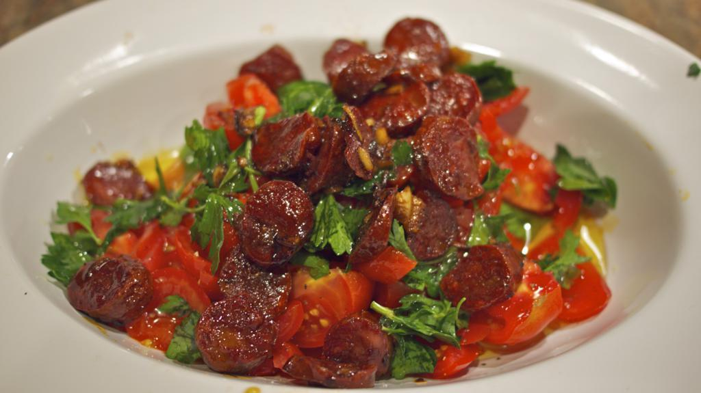 Spanish Tomato Salad with Chorizo